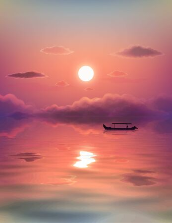 Black lonely fishing boat silhouette on pink sunset background with clouds and reflection in calm water, vector illustration.