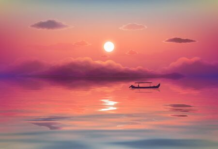 Pink ocean sunset vector illustration with black lonely fishing boat silhouette, purple clouds and reflection in calm wavy water