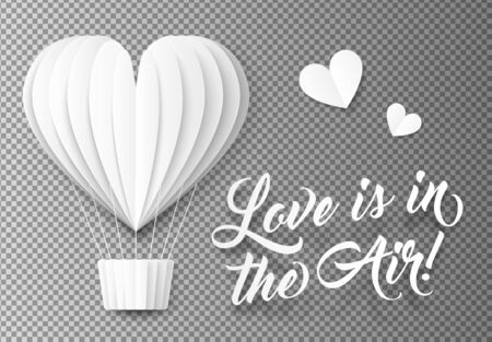 Folded paper balloon and hearts with sign Love is in the Air on transparency grid background.