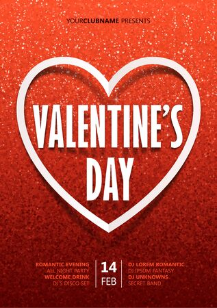 Valentines day vector poster design template with paper style sign and heart frame on red glitter background