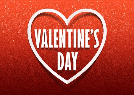 Valentines day greeting card vector template with white paper frame and sign with shadow on red glitter gradient background Illustration