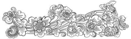 Traditional Balinese style decoration vector doodle floral ornament isolated on white background