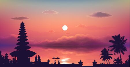 Traditional Balinese temple and palm trees silhouette on pink cloudy sunset background, vector illustration