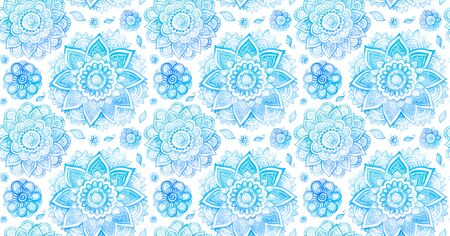 Watercolor style blue vintage mandala flowers vector seamless pattern on white background