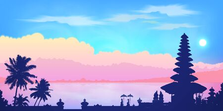 Dark Balinese temple and palm trees silhouettes at pink clouds and blue sky sunrise background, vector banner illustration