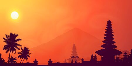 Orange tropical sunset in Bali island with dark temple, mountain and palm trees silhouettes, vector banner illustration