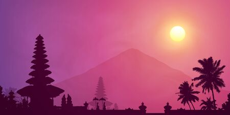 Violet foggy sunset with Balinese temple, palm trees and mountain Agung silhouettes, vector banner illustration