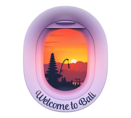 Plane porthole with Balinese island sunset and temple silhouette view with sign Welcome to Bali, vector sticker or magnet template Illustration