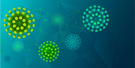 Green and blue corona virus cells vector illustration on aqua menthe trendy color abstract scientific background