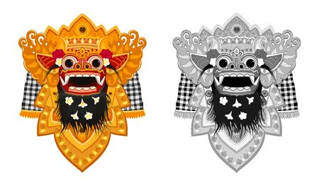 Colorful and monochrome Bialinese Barong traditional mask vector illustrations set isolated on white background Illustration