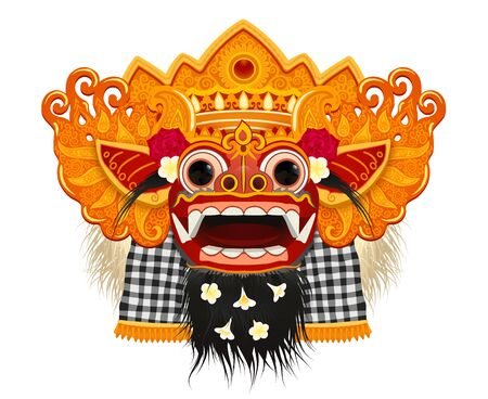 Traditional ritual Balinese Barong god golden face mask with fur decorated by flowers, vector stylized illustration isolated on white background