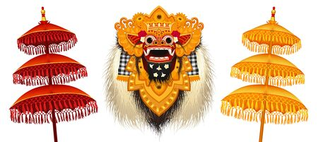Traditional Balinese Barong mask and colorful ritual umbrellas vector illustrations set isolated on white background