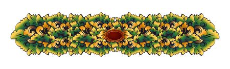 Traditional Balinese carving style colored floral decorative vintage ornament, vector stylized border isolated on white background