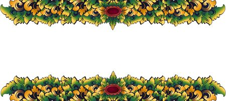 Traditional Balinese carving style colored floral decorative vintage ornament, vector stylized frame border