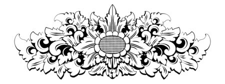 Traditional Balinese carving motif in black and white tattoo style, vector illustration Illustration