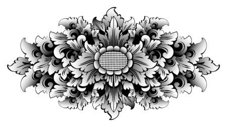Black and white ornate style Balinese traditional ornament vector illustration