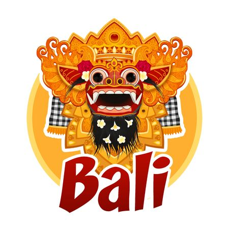 Traditional Balinese Barong mask illustration with red sign Bali, vector sticker template isolated on white background Illustration