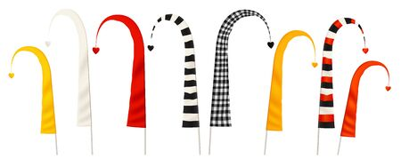 Traditional Balinese ceremonial yellow, red and striped curved flags, vector illustration set isolated on white background