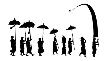 Black Balinese Melasti ceremony procession with flag and umbrellas vector black people silhouettes isolated on white background
