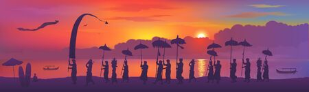 Traditional Balinese religious ceremony, people with umbrellas silhouettes on colorful sunset background. Vector horizontal banner illustration Illustration