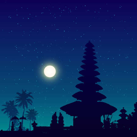 Bali temple vector silhouette night sky background Illustration