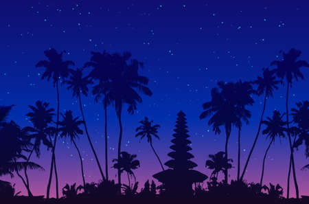 Dark palm trees and balinese temple silhouettes