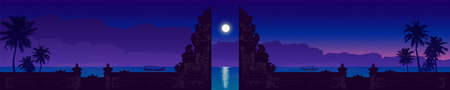 Traditional balinese temple gate and palms silhouette on night purple sky
