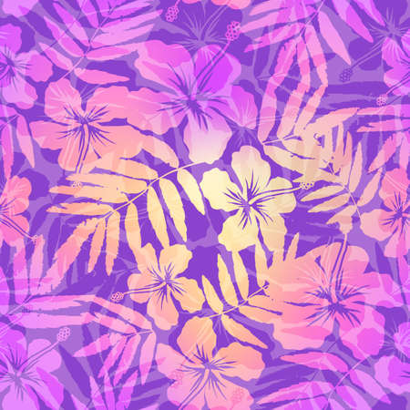 Violet and pink tropic flowers seamless pattern