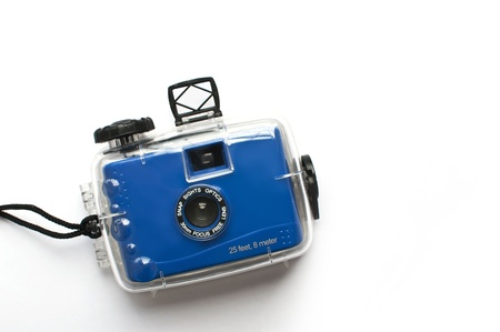 viewfinder vintage: blue toy camera with housing