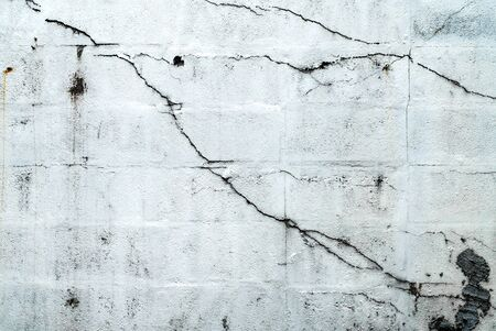 The old white concrete wall with cracked and grunge stain.