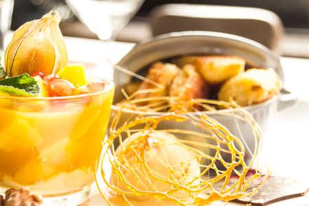 menue: dessert with fruechtebecher and ice and kaiserschmarrn Stock Photo