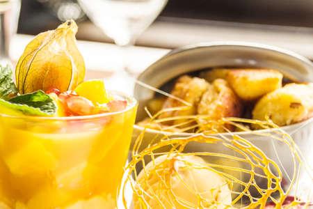 menue: dessert with fruechtebecher Stock Photo