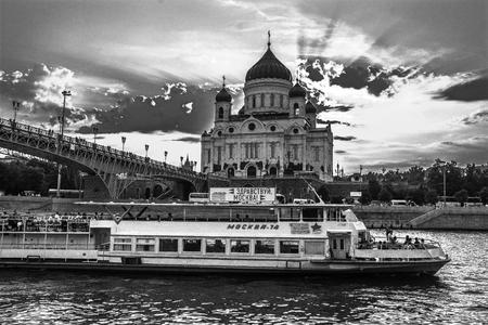 Temple on the river bank 版權商用圖片
