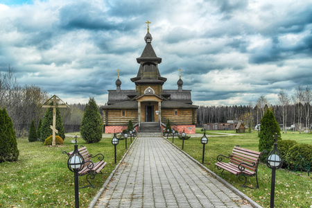 The traditional russian wooden church in the ancient Russia. Golden Ring of Russia.