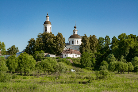 Church of St. Nicholas the Wonderworker on the bank of the river Sherna Stock Photo