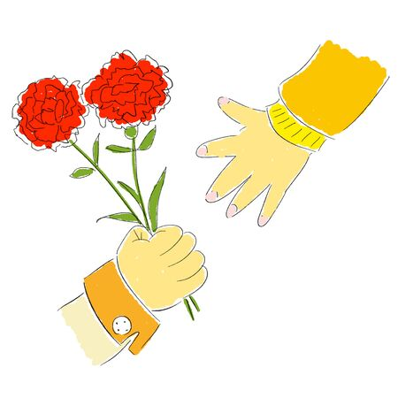 Mother's Day Parent and Child Hand Carnation Flowers