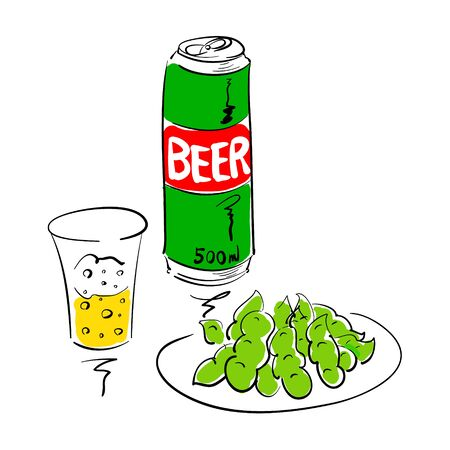Vector cut illustration of canned beer and edamame