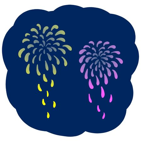 Illustration of fireworks in the background of the night sky Vector