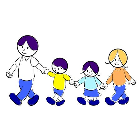 Family Illustrations Walking Hand in Hand Vector