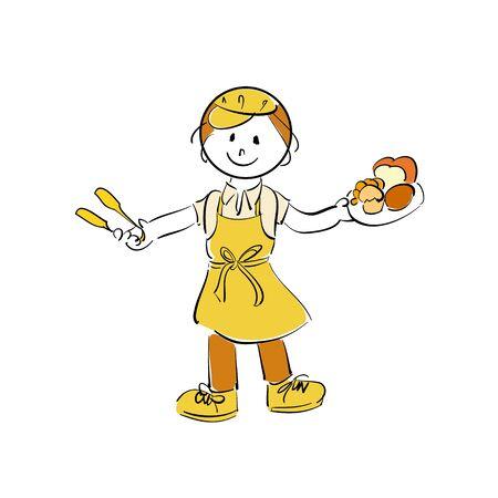 Illustration of a bakery female clerk Vector