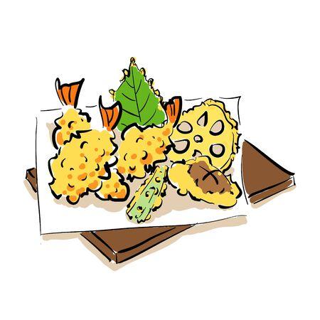 Handwritten Illustration vector of tempura platter  イラスト・ベクター素材