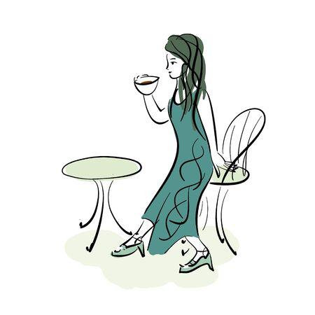 A woman drinking tea  イラスト・ベクター素材