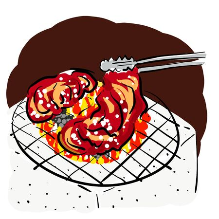 Design and illustration of charcoal grilled meat