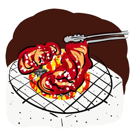 Hand-painted illustrations of charcoal grilled meat 일러스트