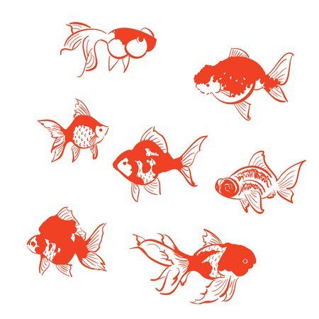 Seven gorgeous goldfish materials  イラスト・ベクター素材