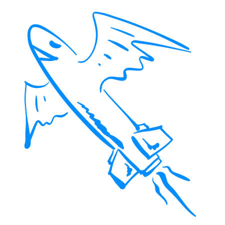 Happy blue missile illustration vector flying in the sky