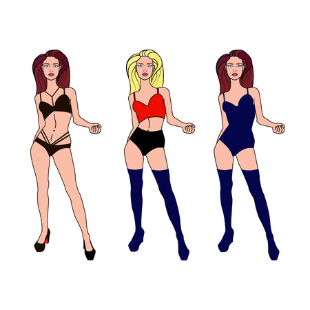 vector illustration: sexy women on the white background
