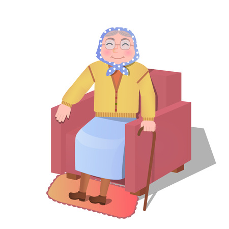 vector illustration: old woman sitting in the armchair