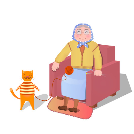 vector illustration - knitting  grandmother together and her cat