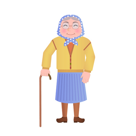 vector illustration: old Russian grandmother